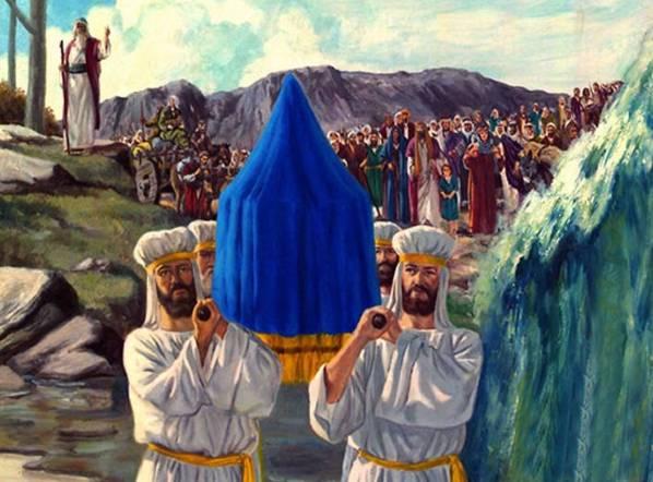 Иудеи переходят с ковчегом реку Иордан