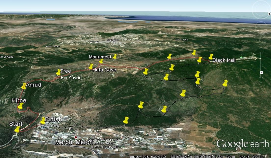 Маршрут на горе Мирон в верхрей Галилее
