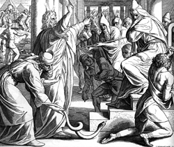 песах - моисей показывает чудеса фараону