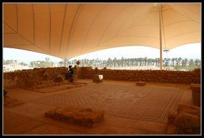 Вид мозаичного пола древней синагоги в Эйн Геди